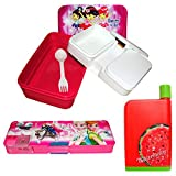 PG Creations Lunch Box, Water Bottle and Pencil Box Combo Pack For Kids ( Girls ) (Color May Vary)