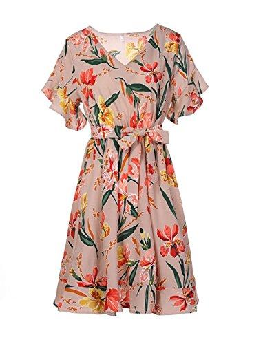 Yieune V-Ausschnitt Sommerkleid Damen Blumenmuster Casual Knie Lang Strandkleid Elegant Party Kleid