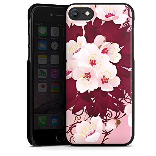 Apple iPhone X Silikon Hülle Case Schutzhülle Blüten Weiße Blumen Muster Hard Case schwarz