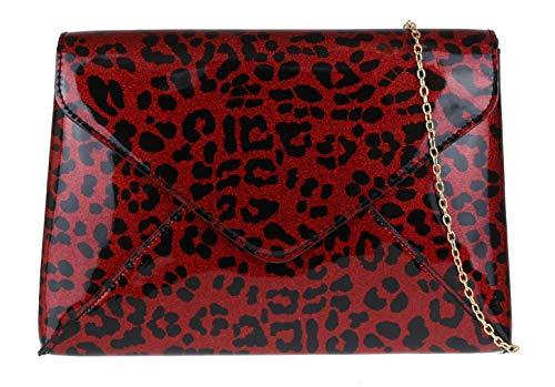 Girly Handbags del bolso de embrague del leopardo (rojo)