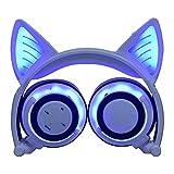 TIAN Verstellbare Universelle Kompatibilität Auf Ohrhörern LED-Kopf Montiert Leuchtend Faltbare Handy-Musik-Headset Für Kinder,Blue