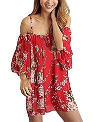 Sannysis Monos mujer de Fuera del hombro de gasa, Boho Tops sueltos, color rojo flor (M)