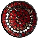 Simandra Mosaikschale Tonschale Glasschale Dekoschale Mosaik Kunsthandwerk Glassteine Deko Rund Spiegel M Color Rot