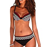 JFan Costume da Bagno Sexy da Donna Imbottito da Bagno Push Up Bikini Stampa Tribale Swimsuit (Vino Rosso, M (IT 40-42))