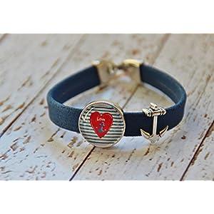 Armband aus Kork Vegan Anker maritim Herz Glas