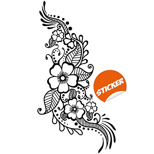 Henna Tattoo Wandaufkleber - Blumige Blume Mandala Kunst Paisley Mehndi Indischer Aufkleber - Dekor Inspirierte Schablone Schwarze Heimzimmer Joga Wandbild (Henna Aufkleber-schablonen)