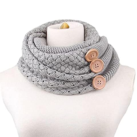 Tonsee Winter Women Warm Infinity Two Circle Cable Knit Cowl Neck Long Scarf Shawl