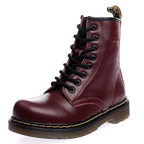 SITAILE Uomo Donna Inverno Pelliccia Neve Stivali Snow Boots caldo Stivali Cavaliere Martin Stivaletti Stringati imbottitura pesante,rosso,41