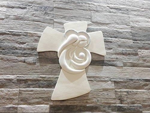 Memory crocifissi da parete sacra famiglia 19x25 resina bianco
