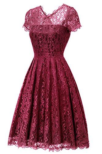 Gigileer Elegant Damen Kleider Spitzenkleid Cocktailkleid Knielanges Vintage 50er Jahr hochzeit Party weinrot L - 3