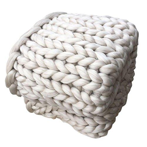 OVERDOSE Hand Chunky Strickdecke Decke Garn Merino Wolle Bulky Knitting Throw Blanket Decke (100*120cm(Dicke Wolle), E-Beige)