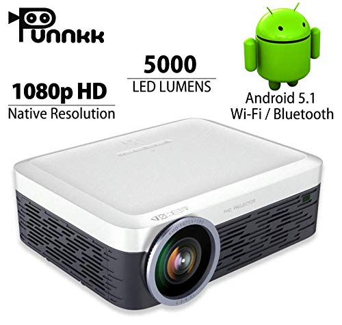 Punnkk Android F1 Native 1080P Full HD 5000 Lumens 4k LED Video Home Theater Projectors with in-Built HI-FI Sound