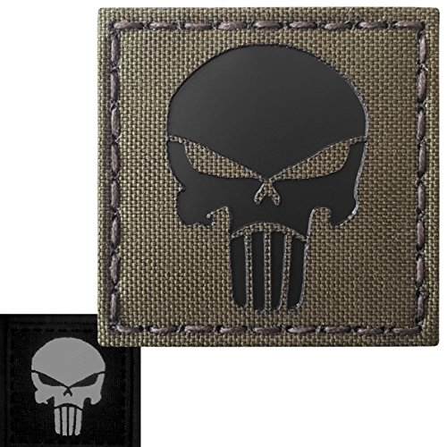 Punisher Skull 2x2 Ranger Green Infrared IR Laser Cut Reflective Tactical Morale Fastener Patch