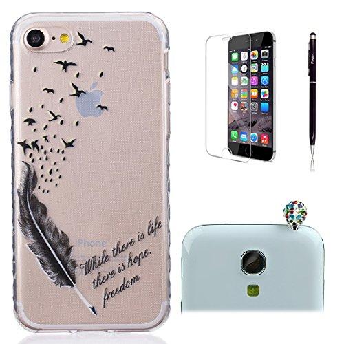 Pheant® [4 in 1] Apple iPhone 7 (4.7 pouces) Coque Gel Étui Housse de Protection Transparent Cas avec Verre Trempé Protecteur d'écran Stylet Bouchon Anti Poussiere Plumes Noire