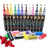 Stylos de peinture acrylique 12couleurs réversible Pointes 3mm -5mm pour verre de Rocks Galets Cuir pierres Bois marqueurs Tissu Plastique Tasses d'encre de stylo enfants Crafts