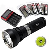 ThruNite® TN32 UT LED Taschenlampe mit Single CREE XP-L HI LED 1150 Lumen Waterpoof IPX-8 Schwarz(TN32 UT Neutral Weiß+MCC-4S Akku-Ladegerät+4xThruNite 18650 3400Mah)