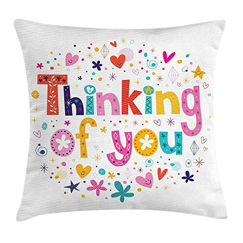 Fundas de Almohada Throw Pillow Cushion Cover, Cheesy Romance Thinking of You Text with Doodled Ornamental Heart and Star Icons, Decorative Square Accent Pillow Case,