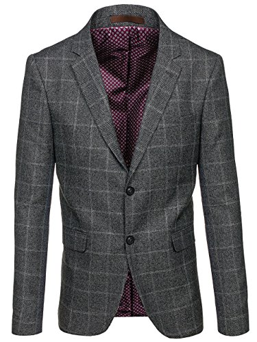 BOLF Herren Sakko Blazer Kariert Slim Fit Elegant Business BIBLOS 1141 Grau 3XL/58 [4D4]