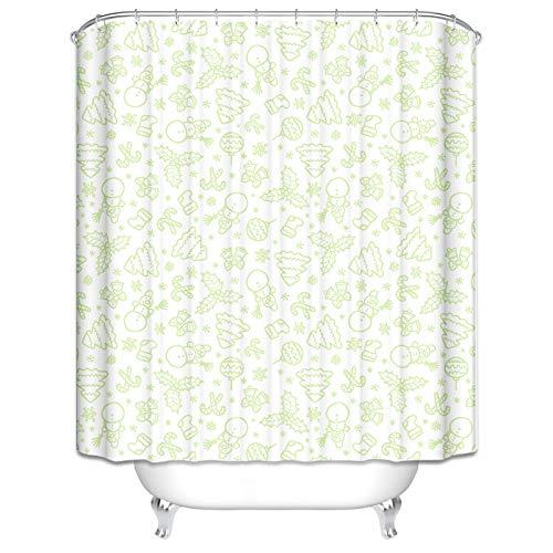 LOUMVE 180x200 cm Badewanne Vorhang WasserdichtBlätter Licht Grün Antibacterial Duschvorhang mit 12 Duschvorhangringen (Licht Grün Duschvorhang)
