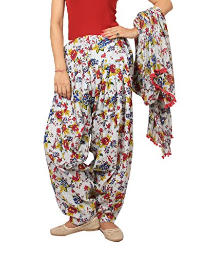 Rama white, Red and Blue floral print patiala dupatta set.