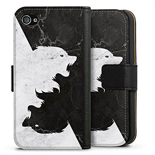 Apple iPhone 6s Hülle Silikon Case Schutz Cover Game of Thrones Wolf GOT Sideflip Tasche schwarz
