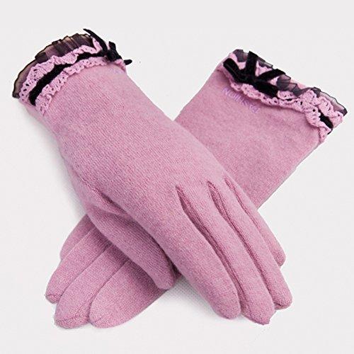 Mme épaisse automne et en hiver la mode en dentelle de peluche douce des gants chauds
