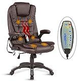 UEnjoy Fauteuil Chaise de Bureau chaise de massage electrique Marron PU Massage dos lombaires cuisses à roulettes Siège de relaxation massant multifonction réglable en hauteur