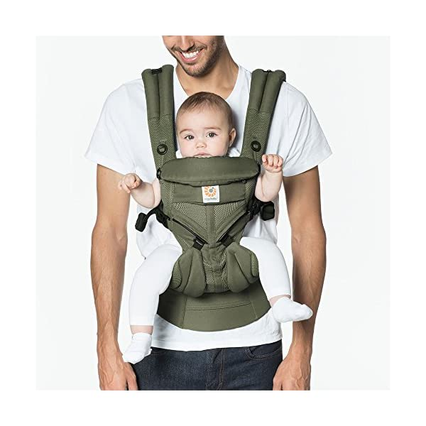 Ergobaby Baby Carrier for Newborn up to 3 Years, 360 Cool Air Khaki Green, 4 Ergonomic Carry Positions Front Back Front Facing, Backpack Carrier Ergobaby Ergonomic baby carrier for the summer, with 4 ergonomic carry positions: front-inward, back, hip, and front-outward. The carrier is suitable for babies and toddlers weighing 3.2 to 20 kg (7-45 lbs), and can be used as a backpack carrier. No infant insert needed NEW - The waistbelt with lumbar support can be worn a little higher or lower to support the lower back and provide optimal comfort, and has adjustable padded shoulder straps. The carrier is suitable for men and women. Maximum baby comfort - Breathable 3D air mesh material provides an optimal temperature for your baby on warm days. The structured bucket seat supports the correct frog-leg position for the baby. The carrier also has a neck support and privacy hood with 50+ UV sun protection. 2