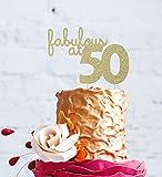 Decorazione per torta di compleanno, 50 anni, Lissielou 'Fabulous at 50', Glittery Gold, 16.7cm wide x 11.6cm high (6.5in x 4.5in)