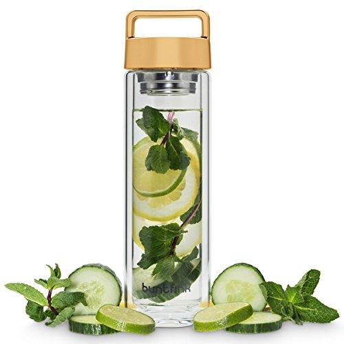 2goBottle Teeflasche aus Glas mit Sieb,Teebereiter to go, Trinkflasche mit Teesieb für Tee oder Wasser, Thermoflasche/Teekanne (doppelwandig) - Gold (kupfern) Gold Teekanne