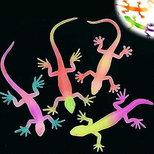German Trendseller® - 4 x In der Nacht Leuchtende Gekkos ┃ Diese Kriech und Krabbeltiere fangen an zu Leuchten sobald die Nacht einbricht !!! -