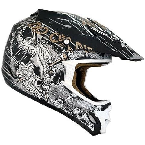 Nikko - Casco da Motocross/Enduro, Nero/Oro,