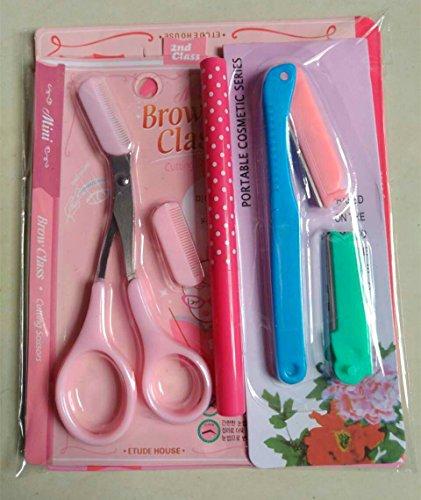 YLLY von Mädchen Set Augenbrauen Schere + Augenbrauen-Karte + Augenbrauenstift + Augenbrauen Messer Beauty Tools