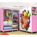 PETRICE Fancy And Portable Foldable Closet Wardrobe Cabinet Portable Multipurpose Clothes Closet Portable Wardrobe Storage Organizer With Shelves Folding Wardrobe Ballon