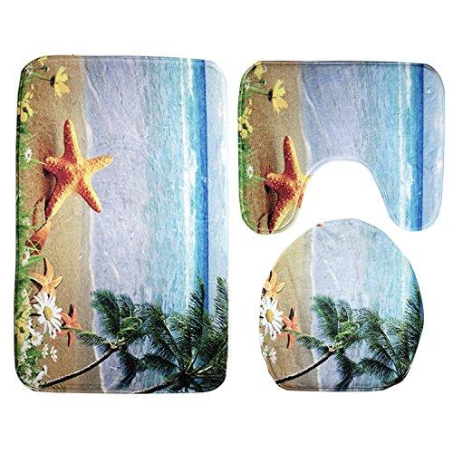 LifePlus 3-in-1 Badematten Set Badematte Toilettenmatte Pedestal Mat mit Sea World Style Seestern Shell-Muster für Badezimmer Küche Wohnzimmer Schlafzimmer (Blau-Schwarz-Yellow)