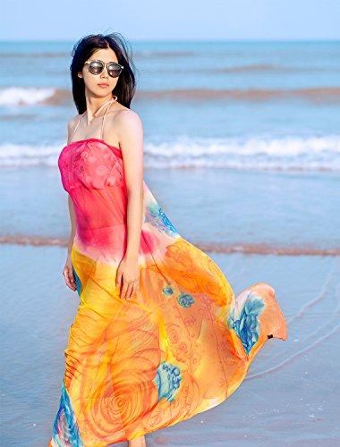 DAMILY Pareo Strandkleider Motiv der Rose Damen Sommerkleider Sarong Orange