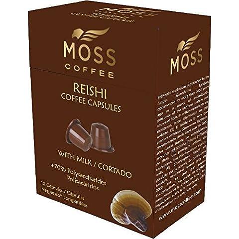 Moss Coffee 10 Cápsulas compatibles Nespresso* con polvo puro de Reishi - Café Latte/Cortado