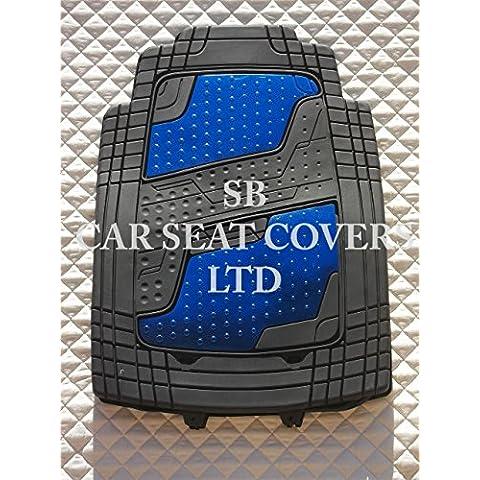 Kia Soul–Juego de PVC Quadri aluminio azul Alfombras de coche (4piezas, universal