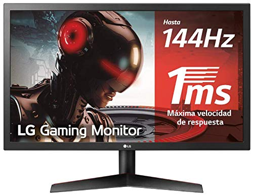 LG 24GL600F-B - Monitor Gaming QHD de 59,8 cm (24') con panel TN (1920 x 1080 píxeles, 16:9, 1 ms, 144Hz, FreeSync LFC, 300 cd/m², 1000:1, NTSC 72%, DP x1, HDMI x2, auriculares) color negro