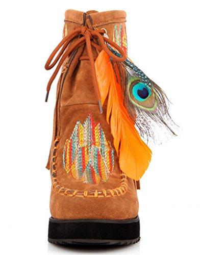CYGG Women Wedge Heel Feather Decoration Stile etnico ricamo stivaletti nappa stivali da donna di grandi dimensioni 31-43 yellow