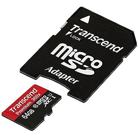 Transcend TS64GUSDU1E Scheda di Memoria MicroSDXC da 64 GB con Adattatore, Classe 10 U1