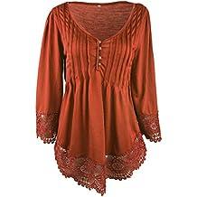 Yingsssq Blusa de Mujer Que Adelgaza la Blusa de la Blusa con Cuello en V de