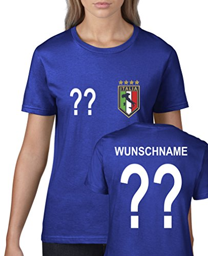 Comedy Shirts - WM 2014 - Italien - Wunsch - Damen T-Shirt - Royalblau Gr. XL -