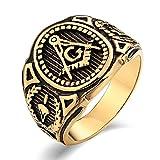 Aienid Schmuck Edelstahlring 3Mm Freimaurer G Freimaurer Gold Ringeherren Ringe Islam Größe:1.2X1CM Size:57 (18.1)