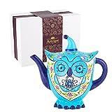 Artvigor Porzellan Teekanne 1200 ml, Handbemalt Kaffeekanne, Eule Figur Tischdeko, Geschenkverpackung