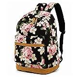 MCWTH Schulrucksack Damen Canvas Vintage Schulranzen Rucksack Casual Daypacks for Teens Mädchen mit Blumendruck (große Blume)