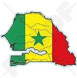 Sénégal Sénégalais Carte-Drapeau Afrique de l'Ouest, Dakar Africain, 115mm Vinyl Sticker, Autocollant
