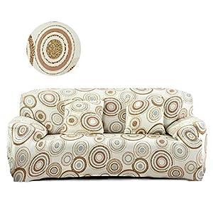 Cornasee Elastischer Sofabezug 3 Sitzer, Sofa-Überwürfe Sofahusse Couchhusse Spannbezug für Sofa mit Armlehne,Blumendruck