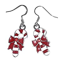 Juicy Jewellery Fancy Dress Silver Christmas Pierced Earrings Xmas Tree Snowflake Snowman Santa Hat Stocking Gift (Candy Cane)