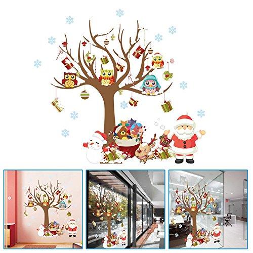 Pegatina Navidad para ventana escaparate comercio despachos casas pPapa Noel y arbol buhos motivos navideños de OPEN BUY